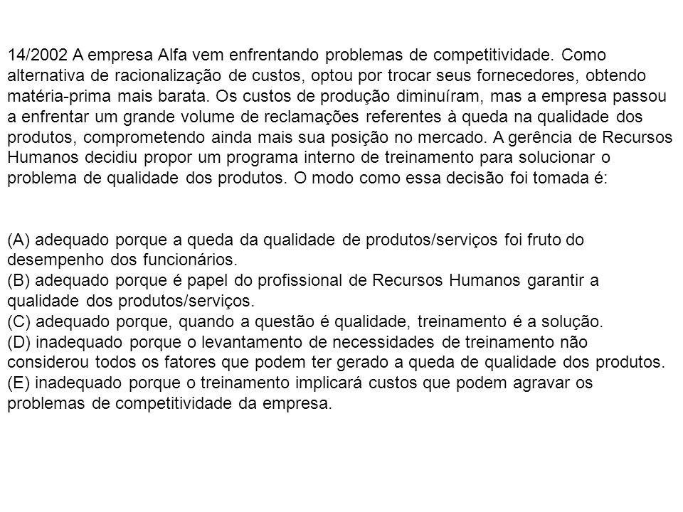 14/2002 A empresa Alfa vem enfrentando problemas de competitividade