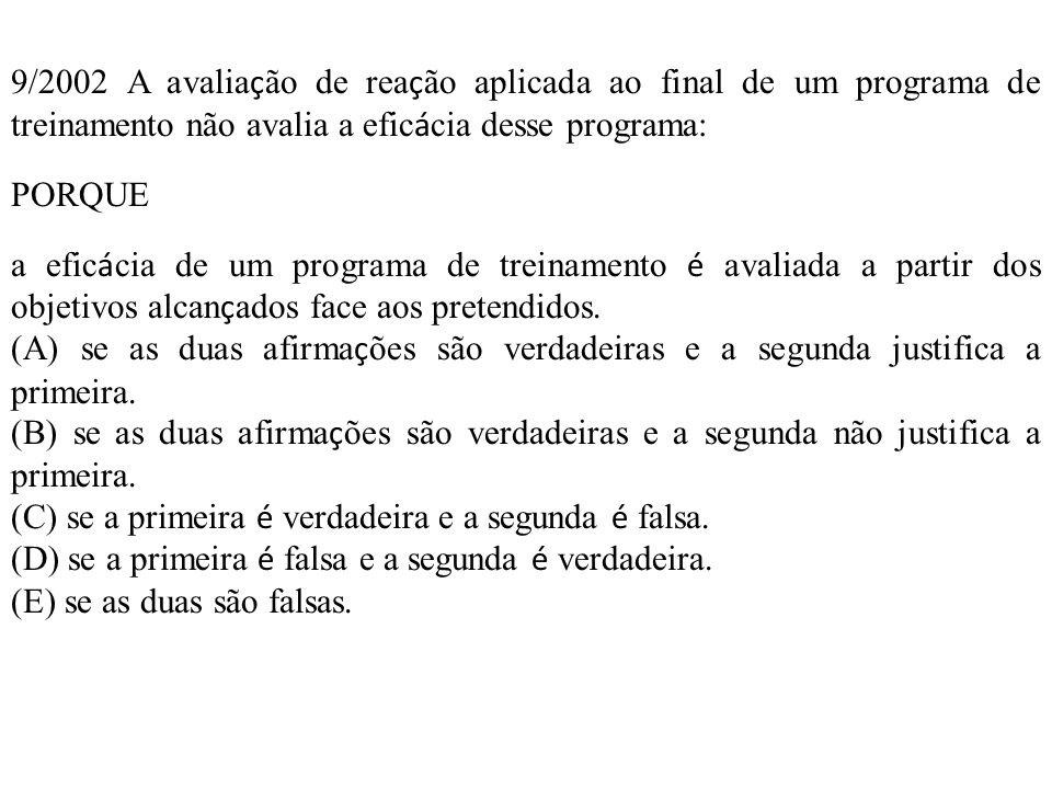 9/2002 A avaliação de reação aplicada ao final de um programa de treinamento não avalia a eficácia desse programa: