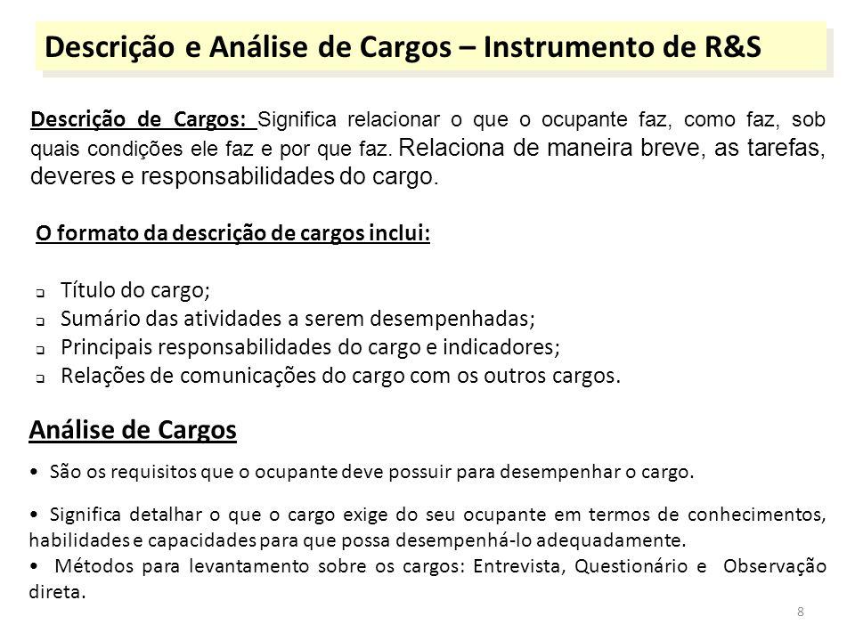 Descrição e Análise de Cargos – Instrumento de R&S