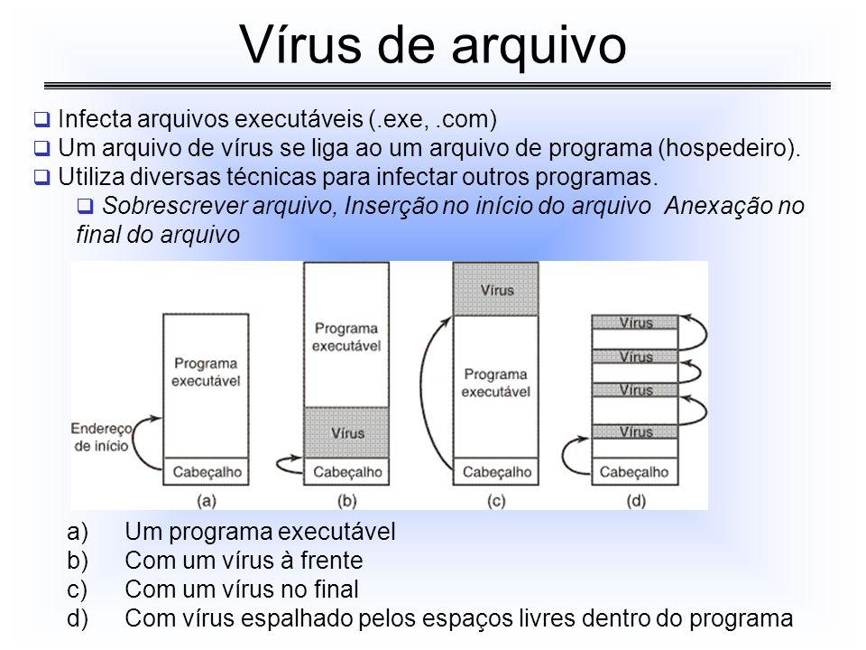 Vírus de arquivo Infecta arquivos executáveis (.exe, .com)