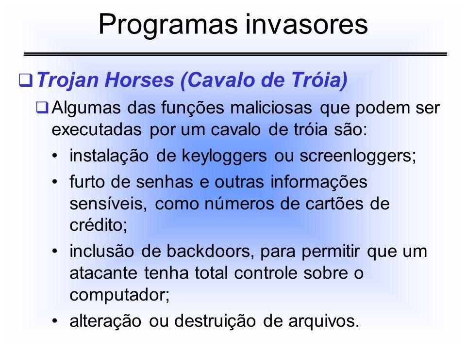 Programas invasores Trojan Horses (Cavalo de Tróia)