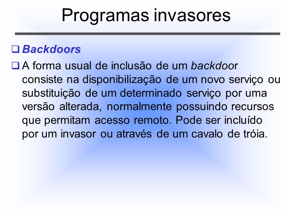 Programas invasores Backdoors