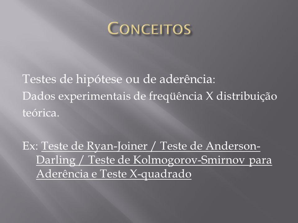 Conceitos Testes de hipótese ou de aderência: