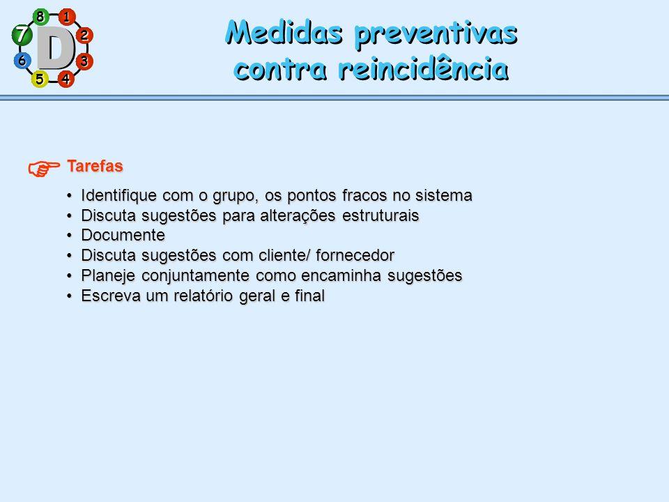  Medidas preventivas contra reincidência 7 Tarefas