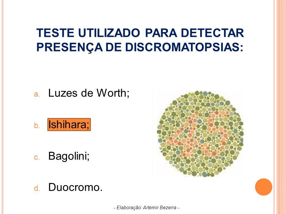 TESTE UTILIZADO PARA DETECTAR PRESENÇA DE DISCROMATOPSIAS: