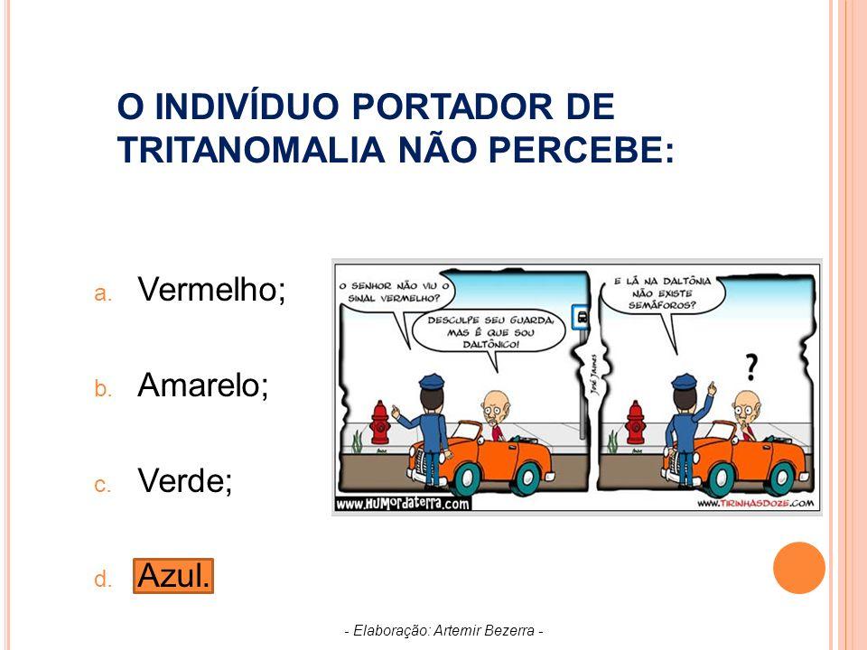 O INDIVÍDUO PORTADOR DE TRITANOMALIA NÃO PERCEBE: