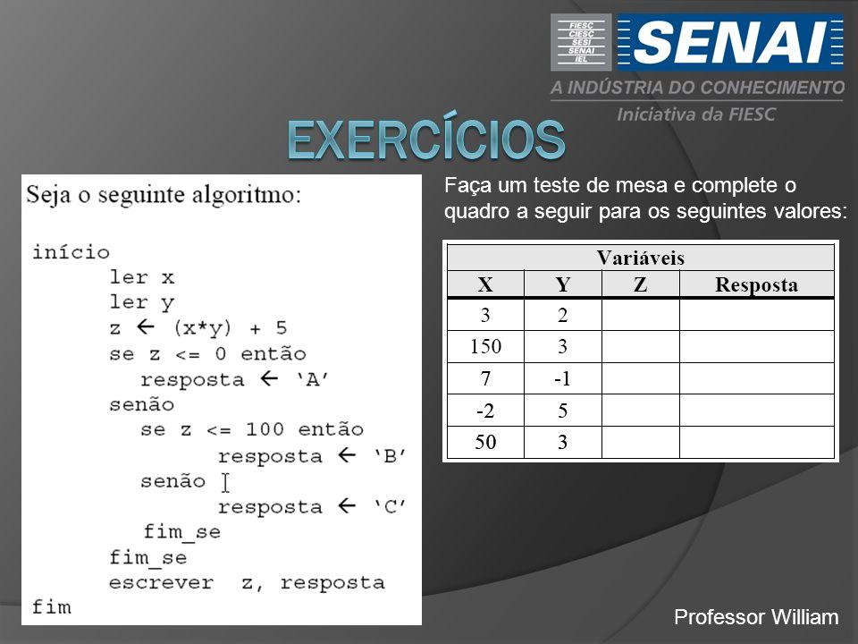 exercícios Faça um teste de mesa e complete o