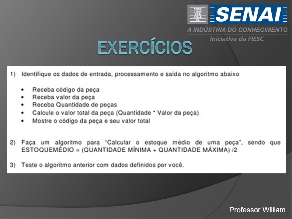 exercícios Professor William