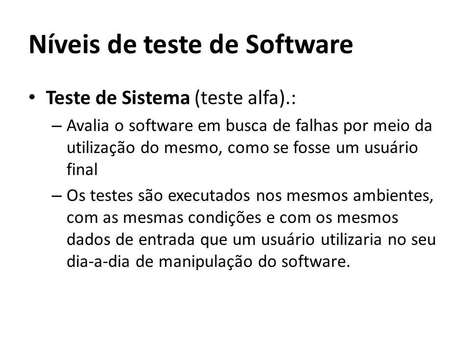 Níveis de teste de Software