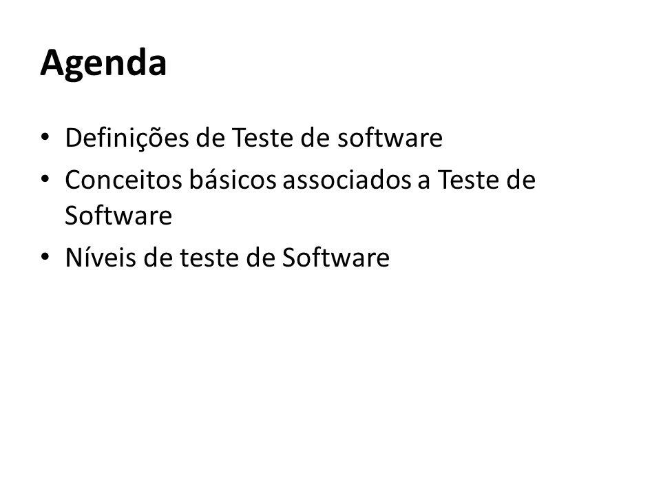 Agenda Definições de Teste de software