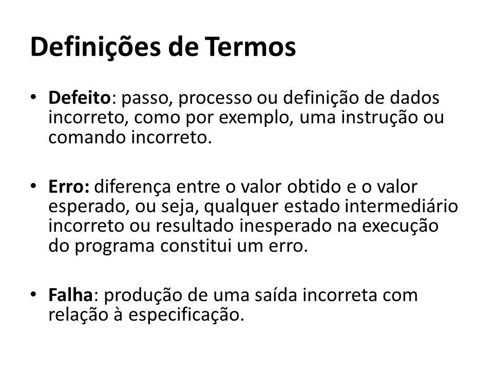 Definições de Termos Defeito: passo, processo ou definição de dados incorreto, como por exemplo, uma instrução ou comando incorreto.