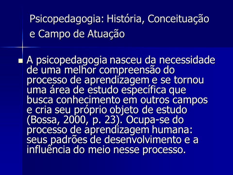 Psicopedagogia: História, Conceituação e Campo de Atuação