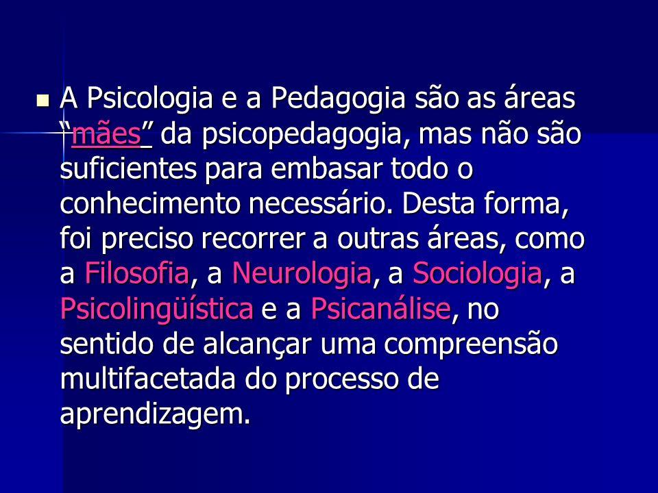 A Psicologia e a Pedagogia são as áreas mães da psicopedagogia, mas não são suficientes para embasar todo o conhecimento necessário.