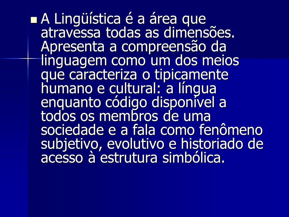 A Lingüística é a área que atravessa todas as dimensões