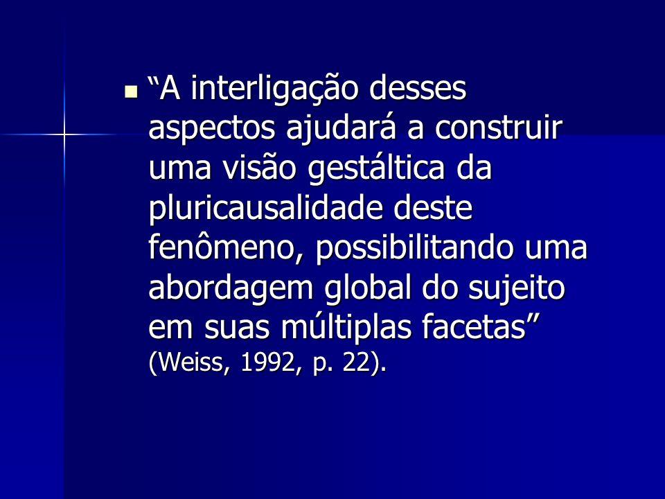 A interligação desses aspectos ajudará a construir uma visão gestáltica da pluricausalidade deste fenômeno, possibilitando uma abordagem global do sujeito em suas múltiplas facetas (Weiss, 1992, p.