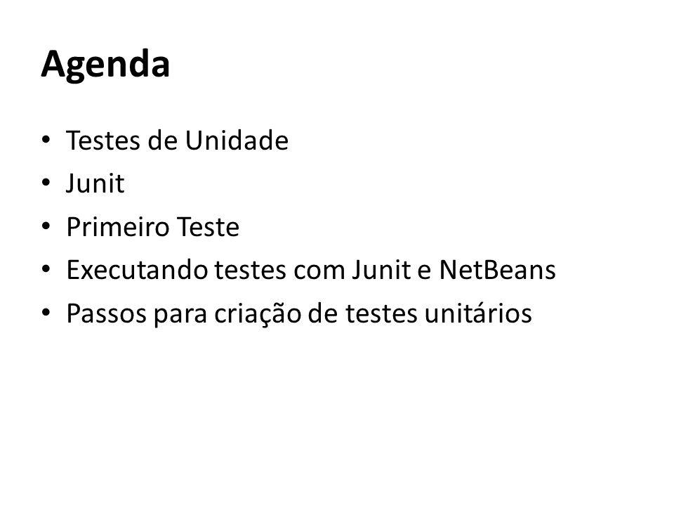 Agenda Testes de Unidade Junit Primeiro Teste