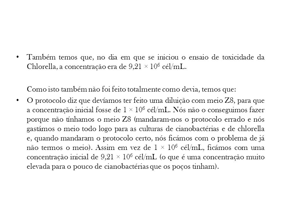 Também temos que, no dia em que se iniciou o ensaio de toxicidade da Chlorella, a concentração era de 9,21 × 106 cél/mL.