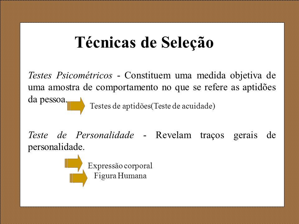 Técnicas de Seleção Testes Psicométricos - Constituem uma medida objetiva de uma amostra de comportamento no que se refere as aptidões da pessoa.