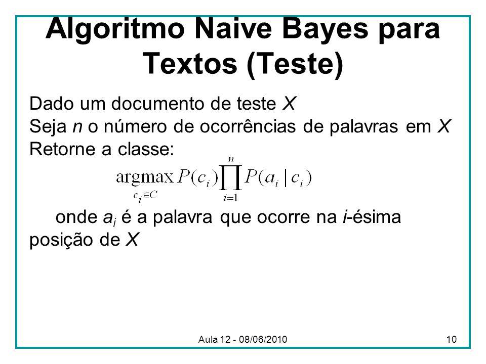 Algoritmo Naive Bayes para Textos (Teste)