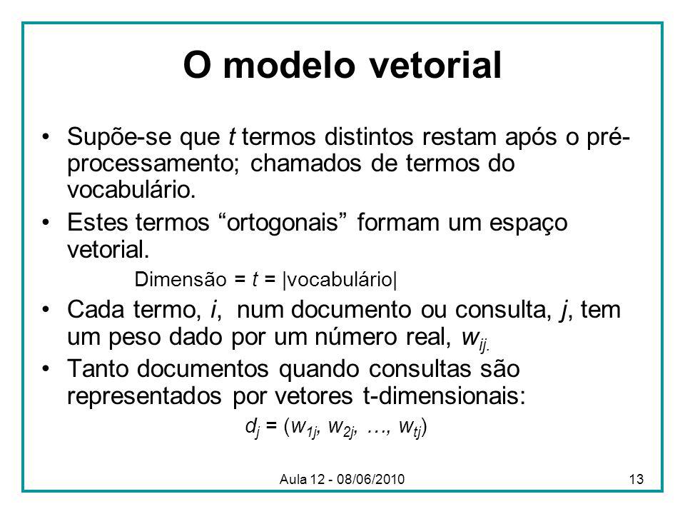 O modelo vetorial Supõe-se que t termos distintos restam após o pré-processamento; chamados de termos do vocabulário.