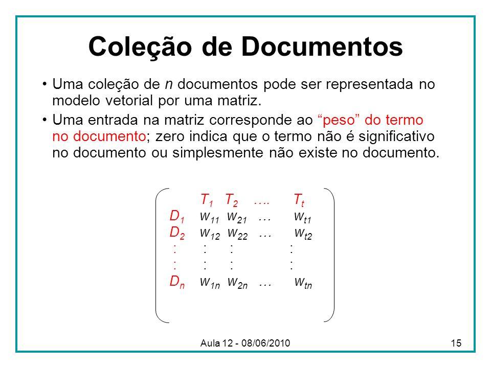 Coleção de Documentos Uma coleção de n documentos pode ser representada no modelo vetorial por uma matriz.
