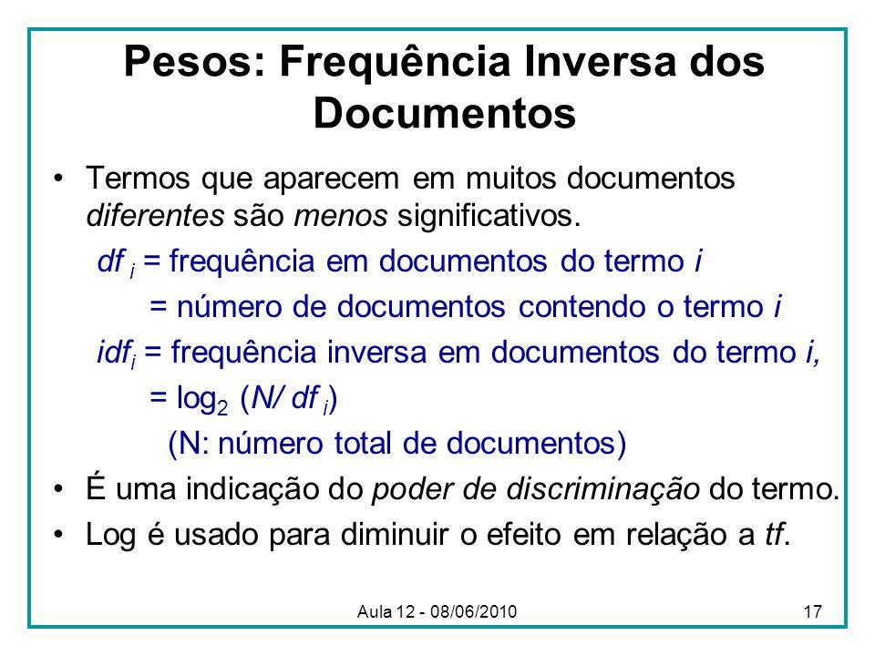 Pesos: Frequência Inversa dos Documentos