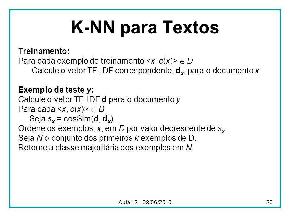 K-NN para Textos Treinamento: