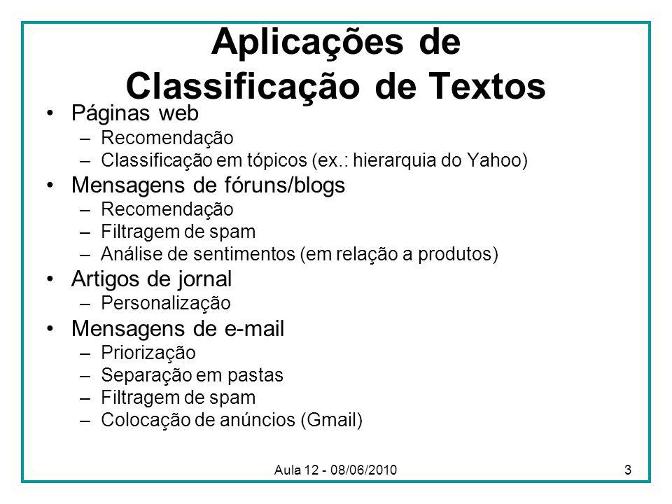 Aplicações de Classificação de Textos
