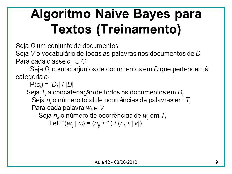 Algoritmo Naive Bayes para Textos (Treinamento)