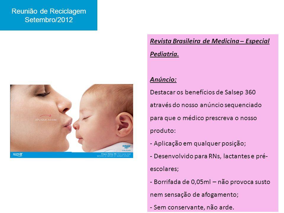 Reunião de Reciclagem Setembro/2012. Revista Brasileira de Medicina – Especial Pediatria. Anúncio: