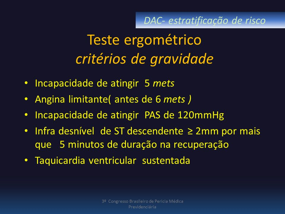 Teste ergométrico critérios de gravidade