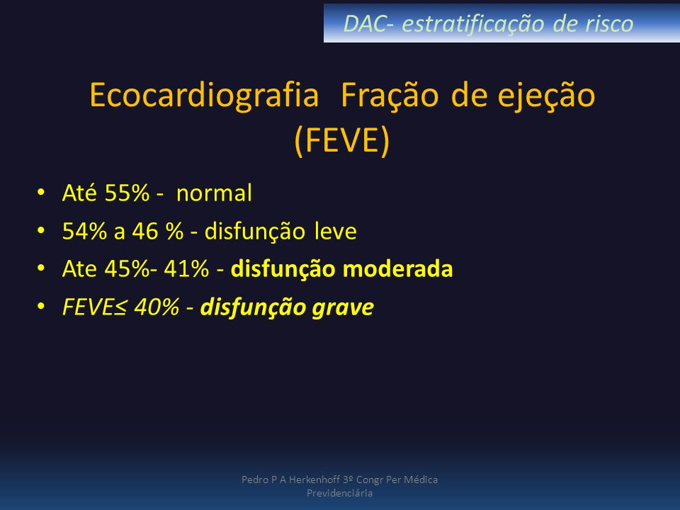 Ecocardiografia Fração de ejeção (FEVE)