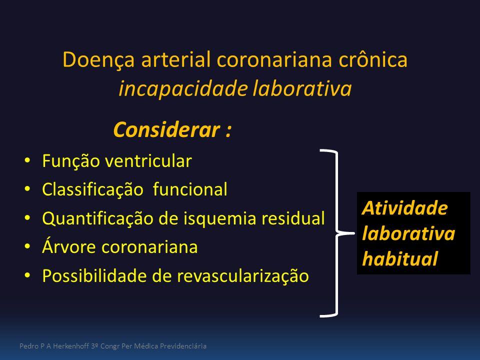 Doença arterial coronariana crônica incapacidade laborativa