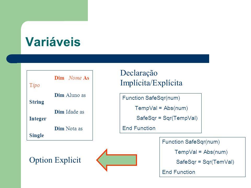 Variáveis Declaração Implícita/Explícita Dim Nome As Tipo