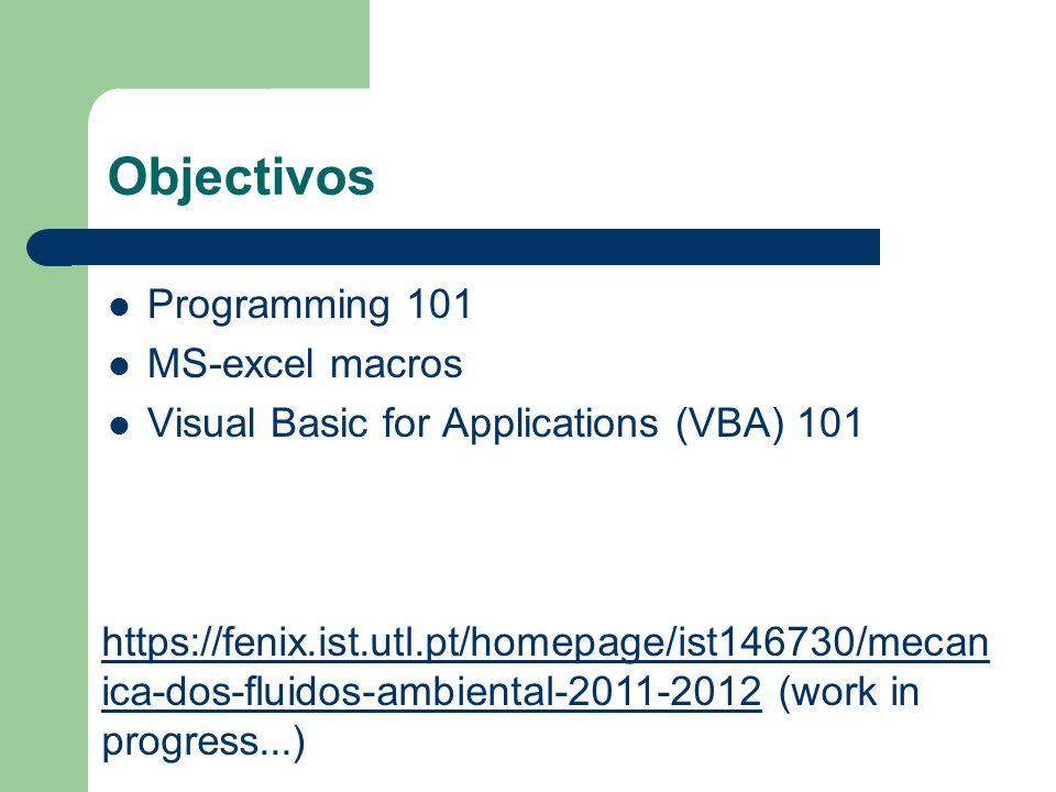 Objectivos Programming 101 MS-excel macros