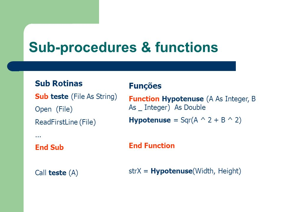 Sub-procedures & functions