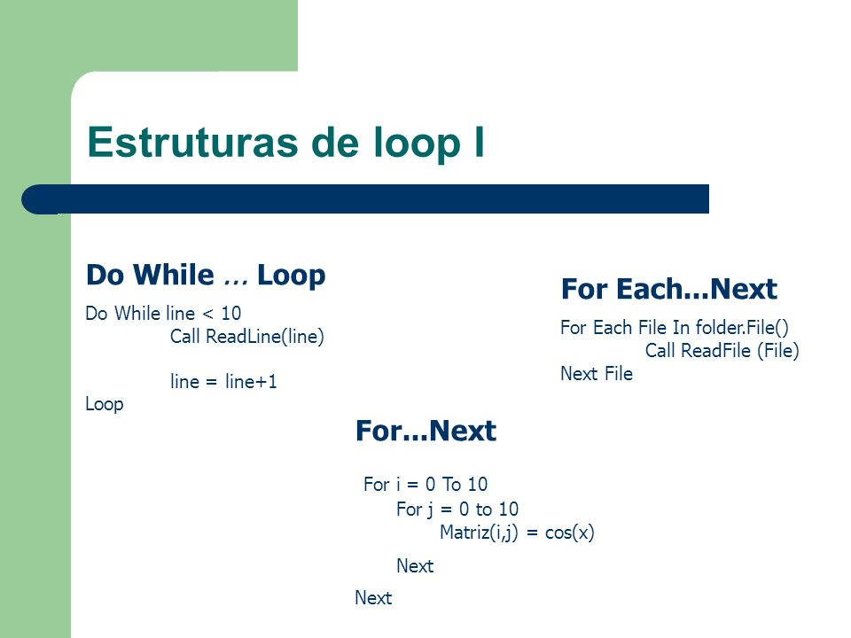 Estruturas de loop I Do While ... Loop For Each...Next For...Next