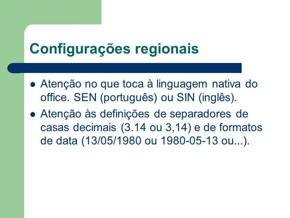Configurações regionais