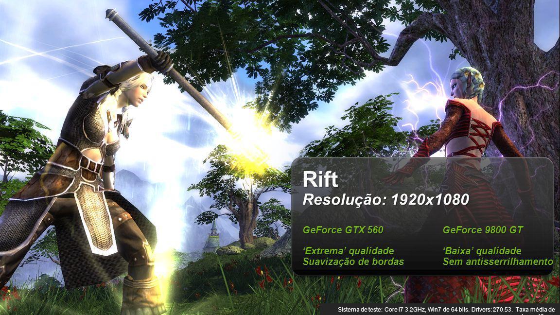 Rift Resolução: 1920x1080 GeForce GTX 560 GeForce 9800 GT