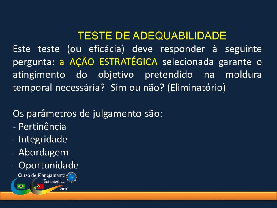 TESTE DE ADEQUABILIDADE