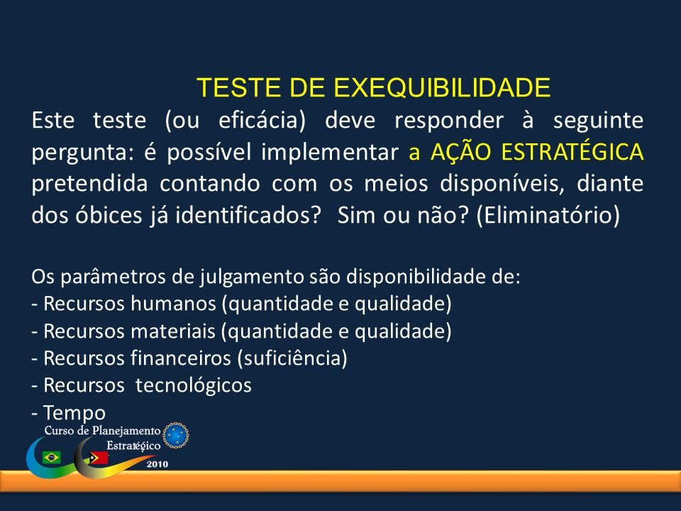 TESTE DE EXEQUIBILIDADE