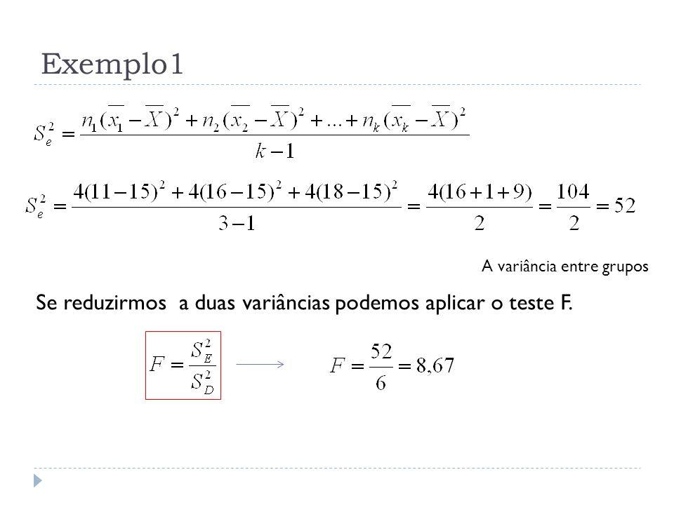 Exemplo1 Se reduzirmos a duas variâncias podemos aplicar o teste F.
