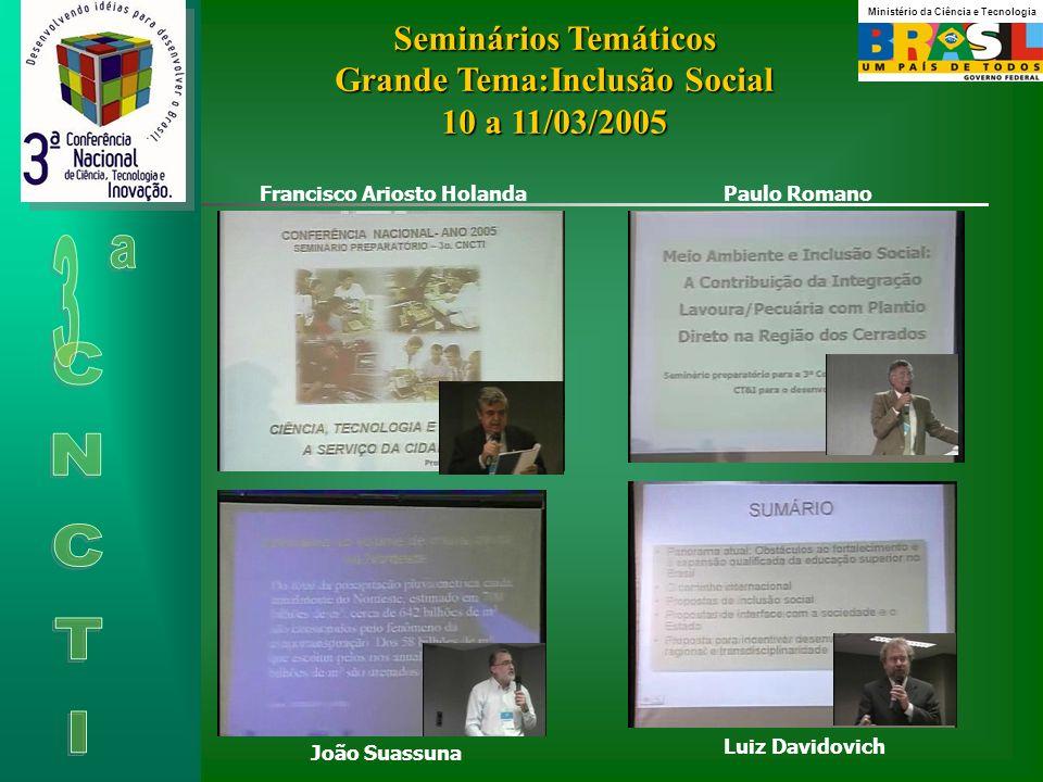Seminários Temáticos Grande Tema:Inclusão Social 10 a 11/03/2005