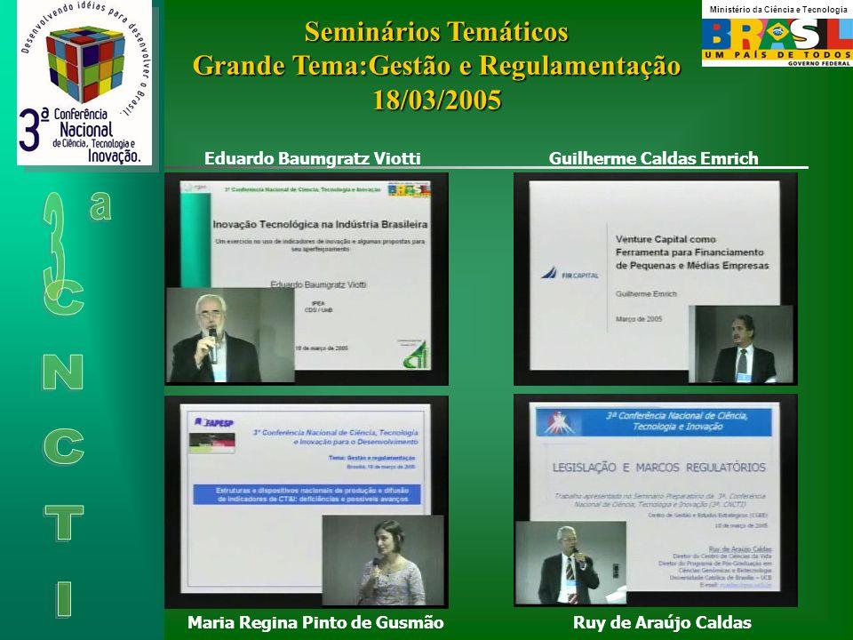 Seminários Temáticos Grande Tema:Gestão e Regulamentação 18/03/2005
