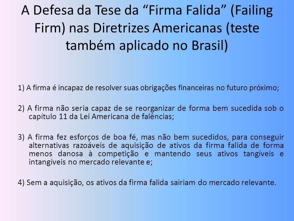 A Defesa da Tese da Firma Falida (Failing Firm) nas Diretrizes Americanas (teste também aplicado no Brasil)