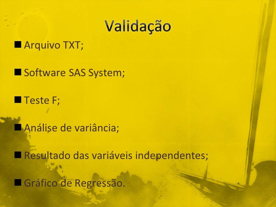 Validação Arquivo TXT; Software SAS System; Teste F;
