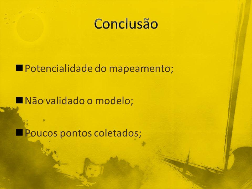 Conclusão Potencialidade do mapeamento; Não validado o modelo;