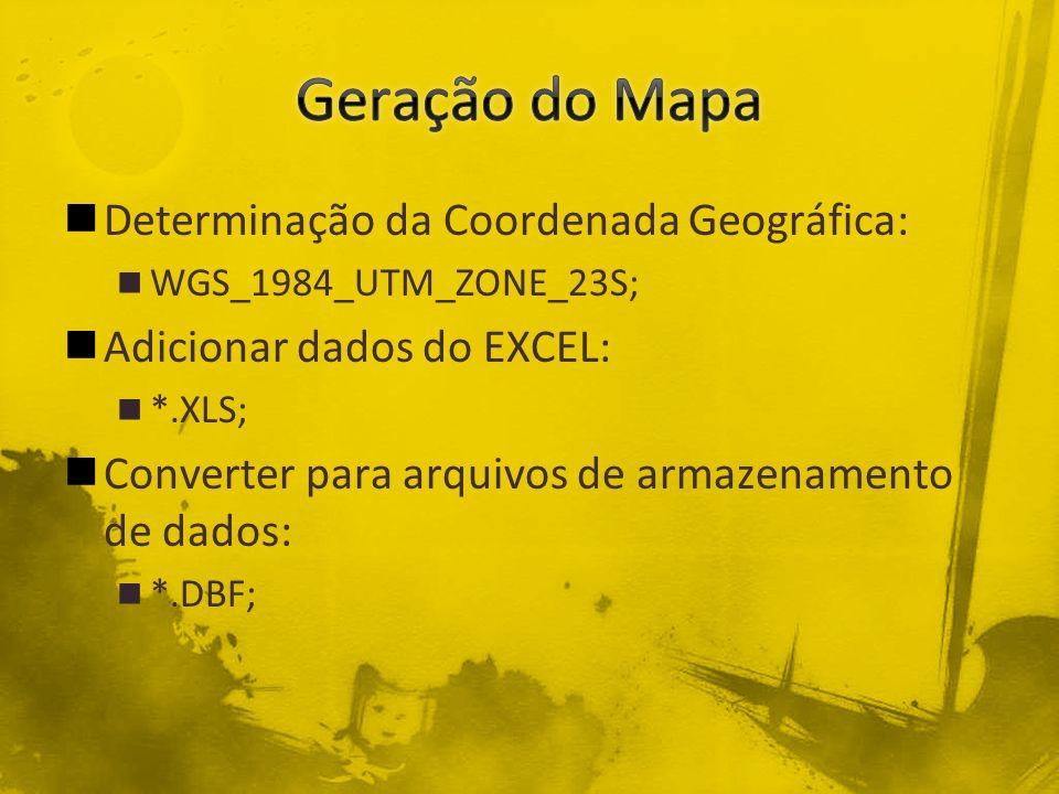 Geração do Mapa Determinação da Coordenada Geográfica: