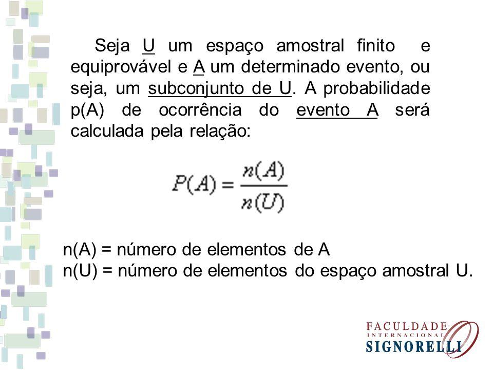 Seja U um espaço amostral finito e equiprovável e A um determinado evento, ou seja, um subconjunto de U. A probabilidade p(A) de ocorrência do evento A será calculada pela relação: