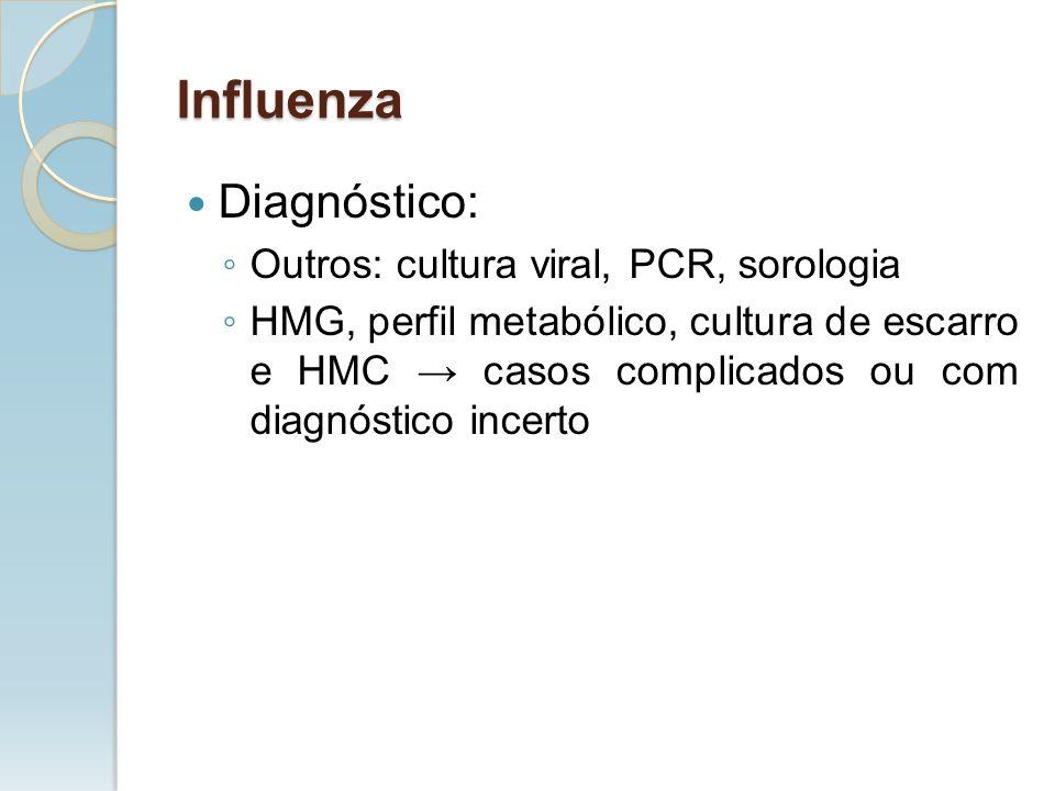 Influenza Diagnóstico: Outros: cultura viral, PCR, sorologia